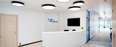 LED Circle-Shaped Luminaires LL-DSO in the new Servier pharmaceutical company's office design